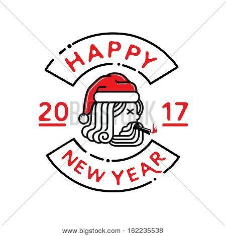 hipster santa claus smoke cigaratte logo with happy new year in 2017.