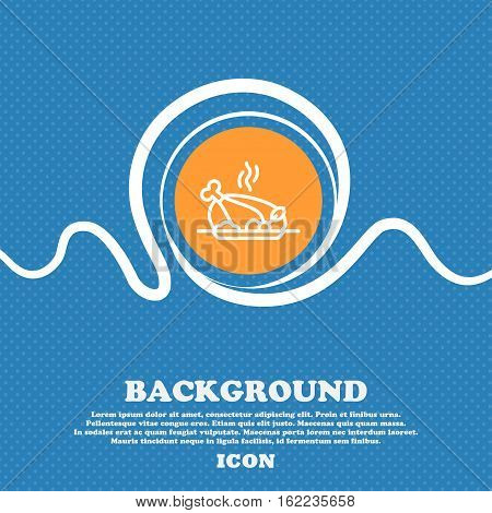 Grill, Chicken, Meat, Barbecue, Spice Icon Sign. Blue And White Abstract Background Flecked With Spa