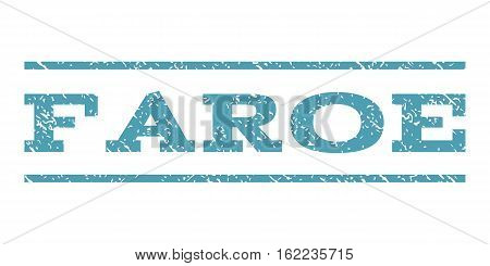 Faroe watermark stamp. Text caption between horizontal parallel lines with grunge design style. Rubber seal stamp with unclean texture. Vector cyan color ink imprint on a white background.