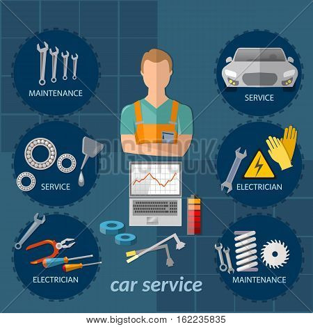 Car service infographics mechanic auto service center tool box car diagnostics. Professional auto repair vector concept