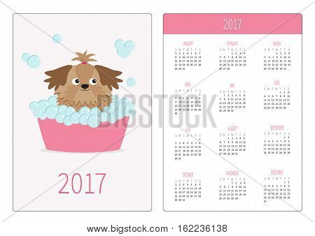 Pocket calendar 2017 year. Week starts Sunday. Flat design Vertical orientation Template. Little glamour tan Shih Tzu dog taking a bubble bath. Vector illustration