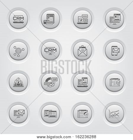 Set of Business and Marketing Icons as CRM, Store Analytics, Landing Page, Business Goals. Confirmation Letter, Marketing, Business Team, Analytics, Setup Campain, AB Testing, Report Statistics