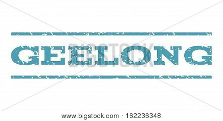 Geelong watermark stamp. Text caption between horizontal parallel lines with grunge design style. Rubber seal stamp with dust texture. Vector cyan color ink imprint on a white background.