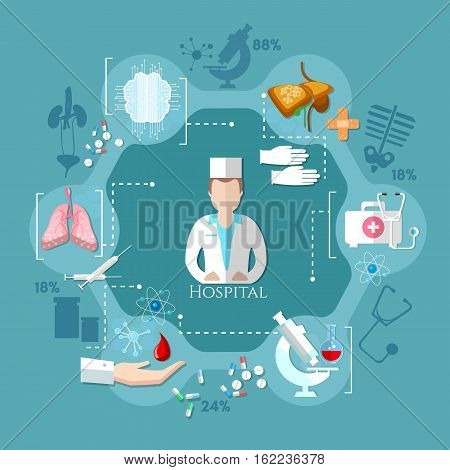Doctor and medical accessories. Medicine concept medical analysis diagnostics and healthcare
