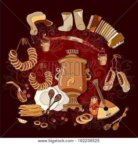 Traditional Russian cuisine and culture. Welcome to Russia. Balalayka samovar matryoshka hand drawn vector