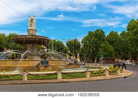 Fountain On The Place De La Rontonde In Aix-en-provence, France