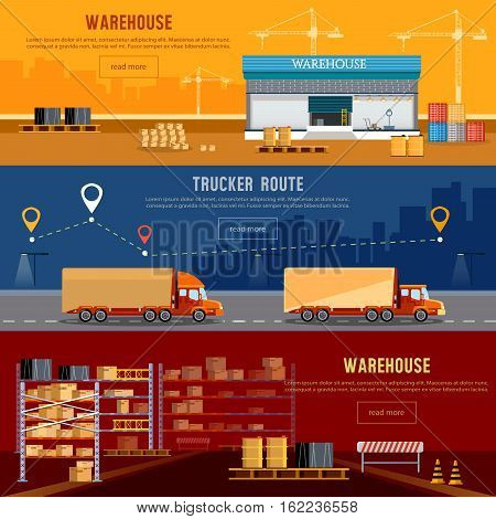 Warehouse banner cargo transportation warehouse interior. Shipping and delivery transportation of goods. Delivery industry concept