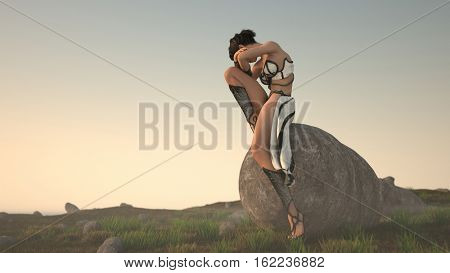 3d illustration of the woman wearing fantasy clothes sitting on big stone