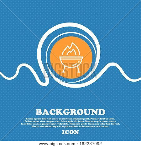 Grill Icon Sign. Blue And White Abstract Background Flecked With Space For Text And Your Design. Vec