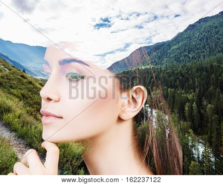 Double exposure portrait of young sensual woman and nature landscape
