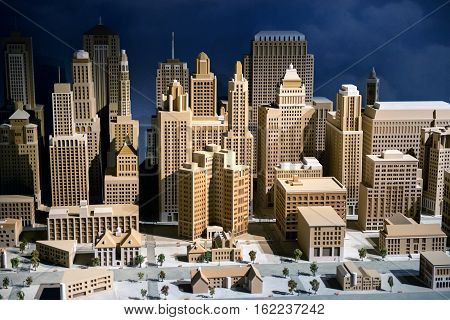 3d scale model of a city showing the CBD with modern skyscrapers and high-rise commercial architecture infrastructure and buildings