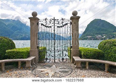 Lake Lugano. Switzerland. Europe.  Digital illustration in draw, sketch style.
