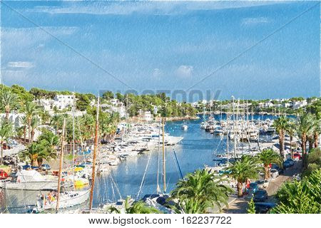 Cala D'Or yacht marina harbor with recreational boats. Mallorca, Spain.  Digital illustration in draw, sketch style.