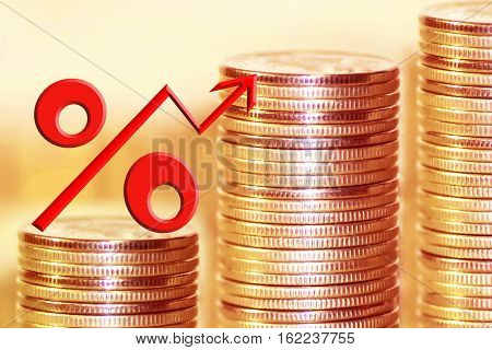 The symbol of percent on the background of money . The concept of income growth .