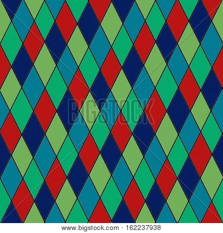 Colorful diamond pattern with red green blue and dark blue rhombus, texture background. Web seamless background.