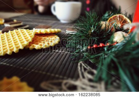 Christmas composition with tea and waffles snack, new, seasonal, brunches