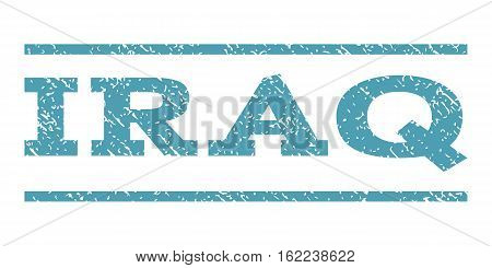 Iraq watermark stamp. Text caption between horizontal parallel lines with grunge design style. Rubber seal stamp with unclean texture. Vector cyan color ink imprint on a white background.