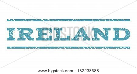 Ireland watermark stamp. Text tag between horizontal parallel lines with grunge design style. Rubber seal stamp with dust texture. Vector cyan color ink imprint on a white background.