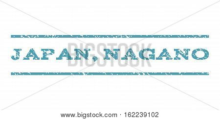 Japan, Nagano watermark stamp. Text caption between horizontal parallel lines with grunge design style. Rubber seal stamp with dirty texture. Vector cyan color ink imprint on a white background.