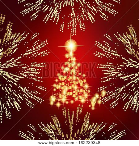 Abstract background with christmas tree, lines, stars and ornaments. Illustration in red and gold colors with gold placer in border.