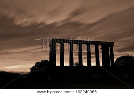 National Monument at Calton Hill in Edinburgh, UK.