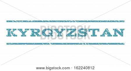 Kyrgyzstan watermark stamp. Text caption between horizontal parallel lines with grunge design style. Rubber seal stamp with dirty texture. Vector cyan color ink imprint on a white background.