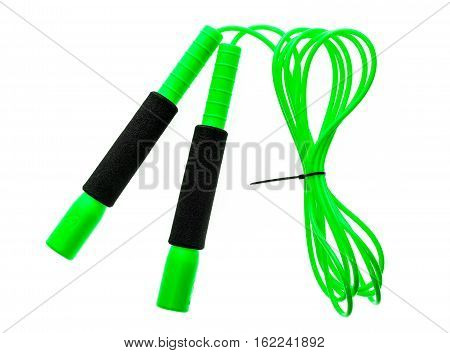 Green Jump Rope Or Skipping Rope Isolated On White Background.
