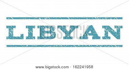 Libyan watermark stamp. Text tag between horizontal parallel lines with grunge design style. Rubber seal stamp with scratched texture. Vector cyan color ink imprint on a white background.