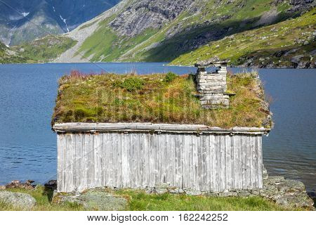 Traditional Scandinavian wooden sod or turf roof house in Norway