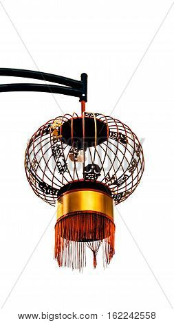 electric modern chinese red lantern on white background