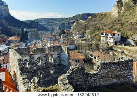 Ruins of Byzantine fortress and Panorama to Melnik town, Blagoevgrad region, Bulgaria