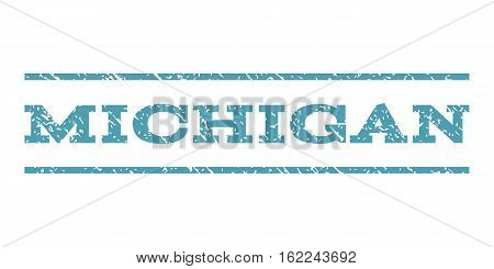 Michigan watermark stamp. Text caption between horizontal parallel lines with grunge design style. Rubber seal stamp with dirty texture. Vector cyan color ink imprint on a white background.