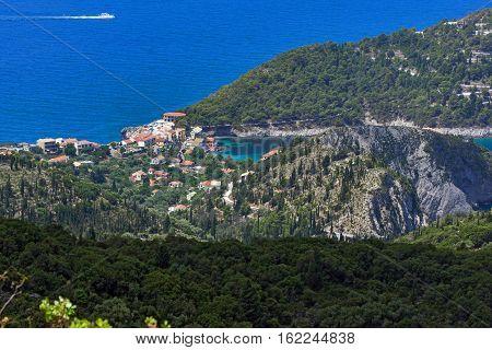 View of Assos village and beautiful sea bay, Kefalonia, Ionian islands, Greece
