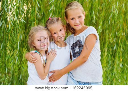 portrait of three young cousins on willow background in summer