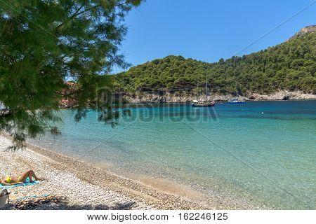 Seascape of beach of Assos village and beautiful sea bay, Kefalonia, Ionian islands, Greece