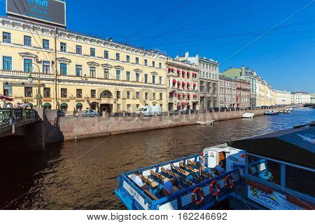 Saint Petersburg, Russia - July 26, 2014:  A Tour Boat Is Preparing To Sail On Tours