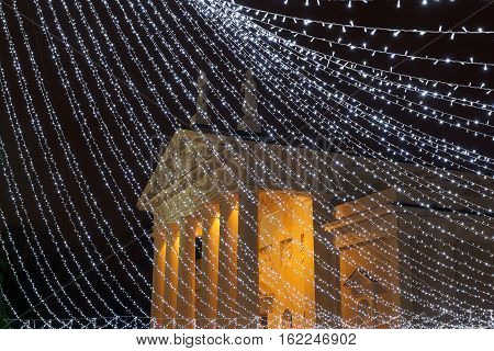 Night view of Cathedral with Christmas decor in Vilnius in december 2016. Vilnius,Lithuania.1994 Vilnius Old Town was included in UNESCO World Heritage List. Christmas in Lithuania. Vilnius Cathedral