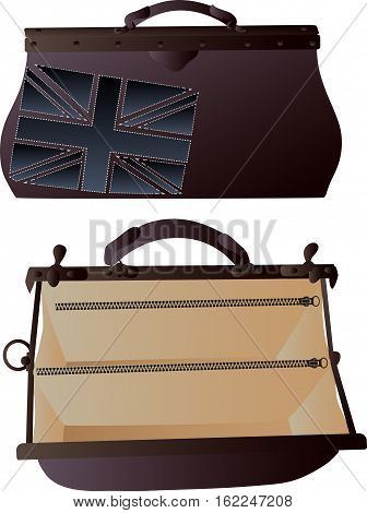 Two brown valise - one is closed and with Flag of the Great Britain and one is open unbuttoned