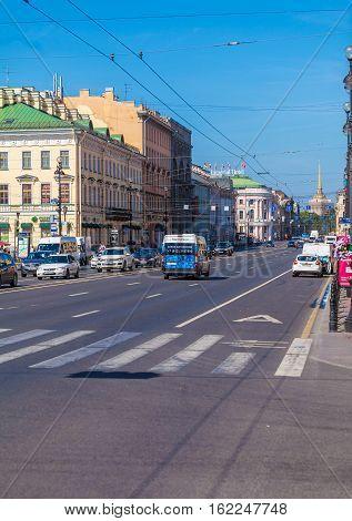 Saint Petersburg, Russia - July 26, 2014:  Busy Traffic On The Main Street Nevsky Prospekt