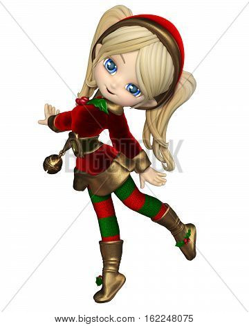 Cute toon Christmas elf girl in a red and green suit and hat with bell, digital illustration (3d rendering)