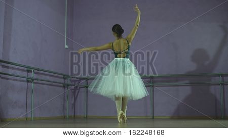 Incomparable ballerina making a jump in a dance hall. She is wearing the leotard with white tutu