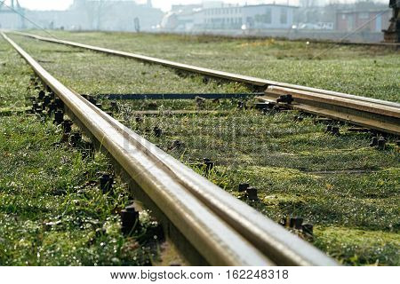 Railroad tracks in the port of Magdeburg