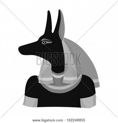 Anubis icon in monochrome style isolated on white background. Ancient Egypt symbol vector illustration.