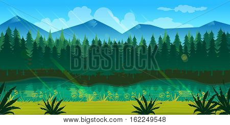 spring forest landscape, never ending nature background with separated layers for game design .2d game application. Illustration for your application , project.