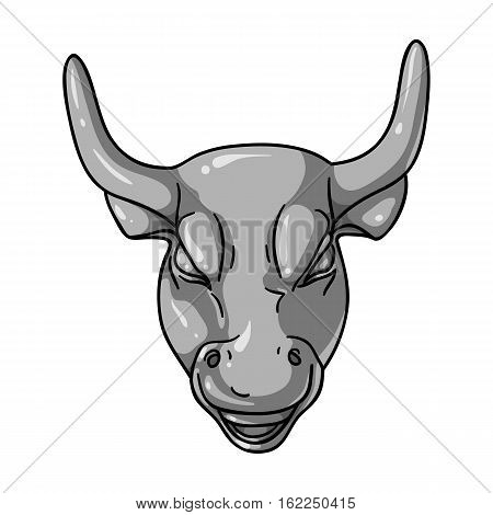 Golden Charging Bull icon in monochrome style isolated on white background. Money and finance symbol vector illustration.