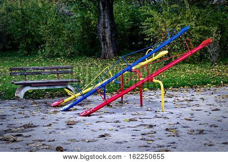 See saw or teeter-totter in the park