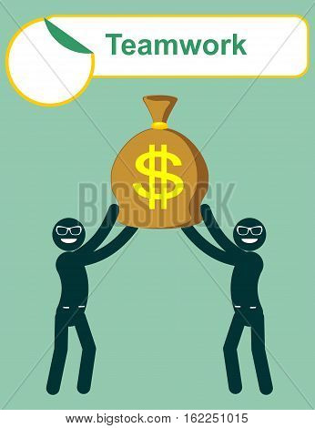 Businessman holding bag full of money . Teamwork. Vector flat illustration