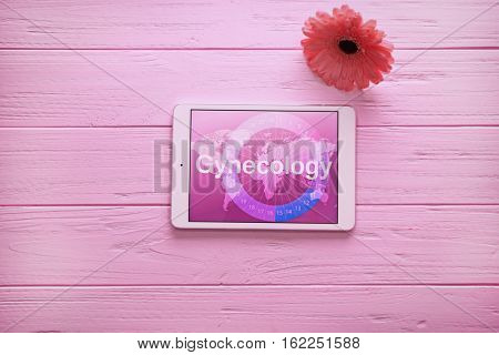 Tablet computer and gerbera flower on wooden background. Gynecology concept