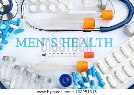 Set of medicine, closeup. Men's health concept