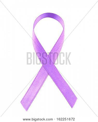 Violet ribbon isolated on white. Family violence, Alzheimer disease and pancreas cancer concept